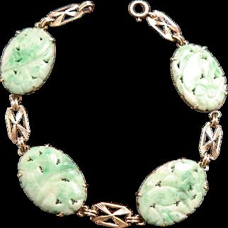 Vintage Carved Natural Jadeite Jade Floral Motif 14k Gold Link Bracelet.