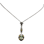 Vintage, Edwardian Inspired, 10k White and Yellow Gold Lavalier Necklace with Synthetic Pale Green Spinel
