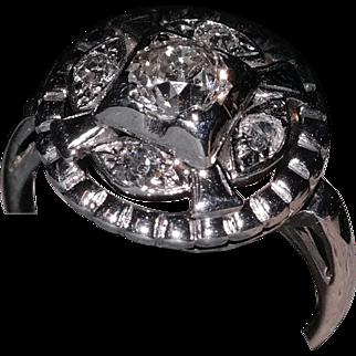 Vintage 14k White Gold finger ring set with five Mine cut diamonds