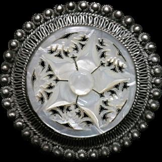 Vintage 1940's Jerusalem Sterling Silver 935 Mother of Pearl pin/pendant.