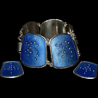 Signed, Vintage, 1950's K.A. Rasmussen (KAR) Sterling Silver and Enamel Bracelet and Earring Set ( Norway)