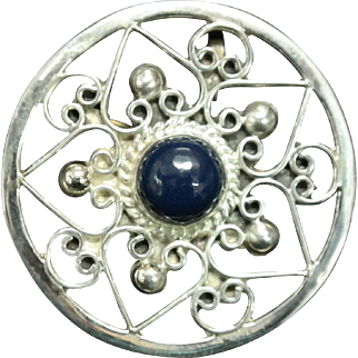 "Vintage Round Sterling Silver Lapis Pin/Pendant signed  ""Hecho En Mexico "" and  ""EMC""."