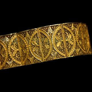 Vintage, Signed BEIS,  900 Sterling Silver, Gold Vermeil, Filigree Wide Panel Bracelet with a Floral Motif.