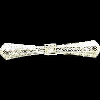 Art Deco 14 Karat White Gold Filigree Diamond Bar Pin.