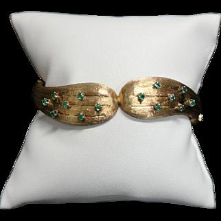 1950's 14K Yellow Gold Emerald Hinged Bangle Bracelet