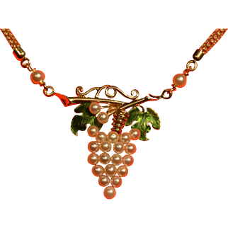 Signed 14k Gold, enamel and cultured pearl, Art Nouveau, grape vine necklace by Soret.