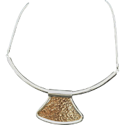 1970's, Disco Era,  Ciani Sterling Silver and 14k Yellow Gold Choker Necklace.