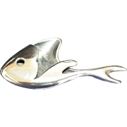 Sigi Pineda signed, modernist, sterling silver and niello fish.
