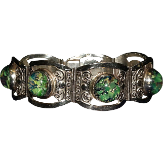 Hencho de Mexico Sterling Silver with Foil Back Opal Bracelet.