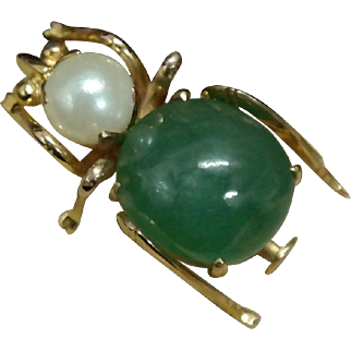 14K Yellow Gold Beetle made with Jade and Pearl Pin.