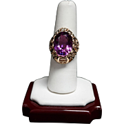Vintage 14k Russian Rose Gold Ring with a Synthetic Alexandrite.