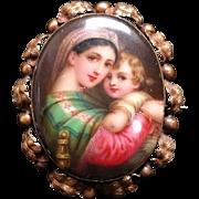 Antique Victorian Hand Painted Porcelain Brooch Depicting Raphael's Madonna Della Gold Frame.