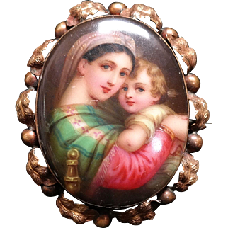 Antique Victorian Hand Painted Porcelain Brooch Depicting Raphael's Madonna Della Gold Frame.
