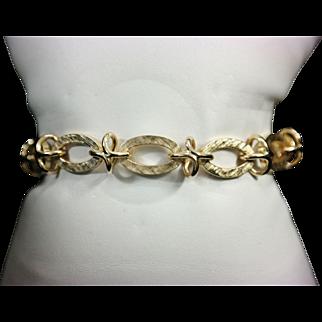 Mid Century  14K Yellow Gold Fancy Link Bracelet