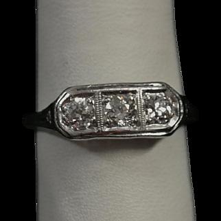 Antique 1920's -1930's Diamond Set Platinum Filigree 3 Stone Ring