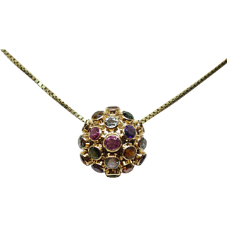 Vintage 14K Yellow Gold Bobble Pendant on a 14K Gold Necklace.