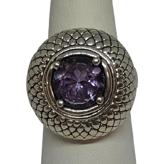 Vintage Sterling Silver Amethyst ring. R.S. engraved 925 Thailand High Fashion Ring