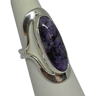 Vintage  Dominique-Dinouart-DDD-Mexico-Sterling-Oval-Purple-Jasper-Statement-Ring.