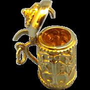 14K Yellow Gold 3D Beer Tankard Stein Charm
