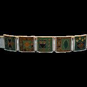 Signed, German, Mid Century, Modernist,Enameled Bracelet made by Perli.