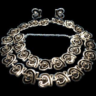 Signed Modernist Margot de Taxco Vintage Sterling Silver and Black Enamel  Necklace, Bracelet and Earring Set.
