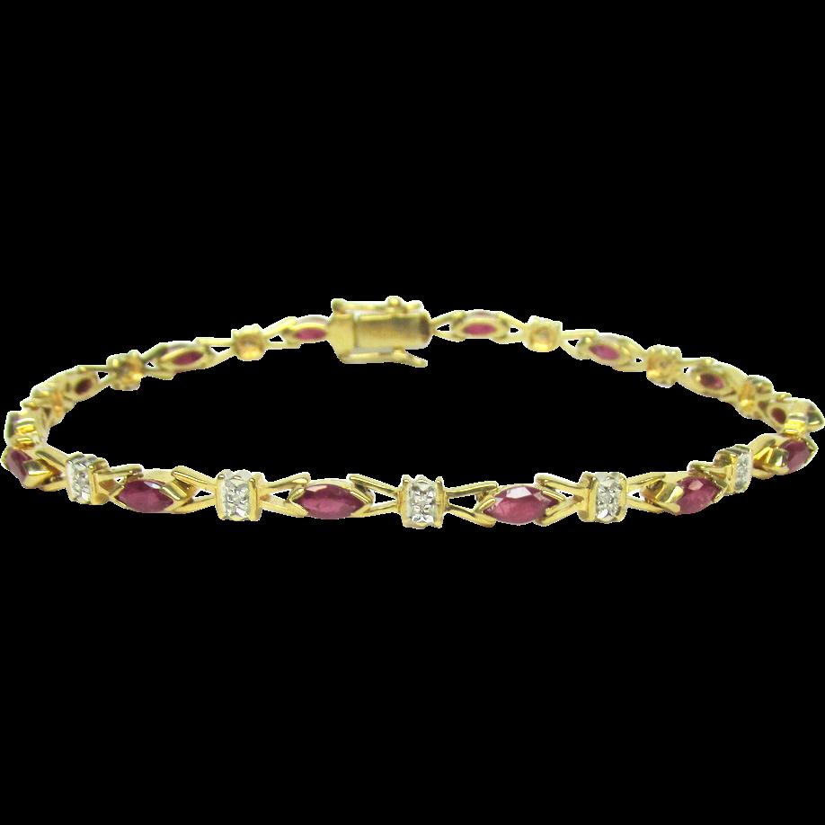 ruby diamond bracelet 14k yellow gold bracelet leer gem ny