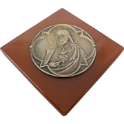 Catholic Red Bakelite Jesus Plaque