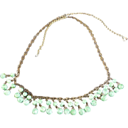 Art Nouveau Green Peking Glass Brass Necklace