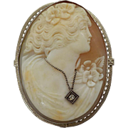 Psyche Bride of Cupid Shell Cameo Habille Brooch / Pendent 14K Gold Book Piece