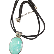 Signed EXEX 925 Sterling Silver Turquoise Large Pendent Necklace Leather Chain