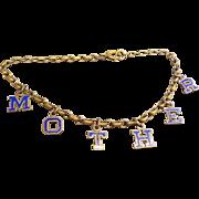 WWII Brass and Enamel Sweetheart MOTHER Charm Bracelet