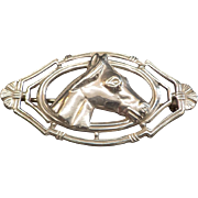 Art Deco Sterling Silver Signed Horse Head Brooch