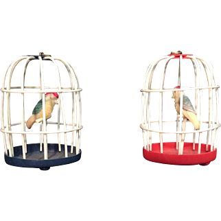 Pair Japanese Celluloid Bird Cages