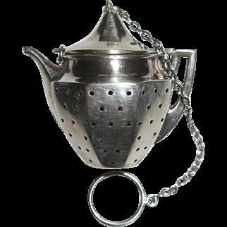Sterling Silver Tea Pot Shape Tea Ball Infuser by Webster, Antique