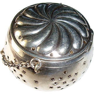 Ornate Sterling Silver Tea Ball, Pierced Stars, Pinwheel Repousse Lid, Antique