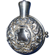 English Sterling Silver Repousse Case Cologne Bottle 1904 - Red Tag Sale Item