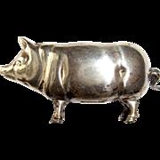 Vintage Sterling Silver Miniature PIG Tape Measure