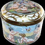 French Capodimonte Large Dresser Trinket Box, Putti, Cherubs, Butterfly, Birds, Vintage