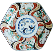 Large Japanese Imari Hexagonal Charger Plate Birds Plants Meiji Antique