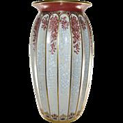 DAHL JENSEN Large Crackle Ribbed Vase, Art Pottery, Denmark, Vintage