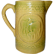 Hull Yellow Ware Pitcher, Grazing Cows, Green and Yellow, Country, Antique