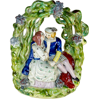 Paul and Virginia, Romeo and Juliet, Staffordshire Mantel Figurine, Antique 19th C.
