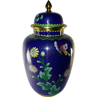 Chinese or Japanese Cloisonne Covered Jar, Blue, Lilies, Chrysanthemums, Vintage