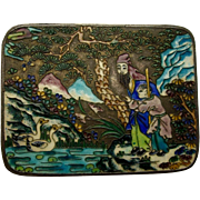 Chinese Champleve Cloisonne Trinket Box, Figures, Birds, Flowers