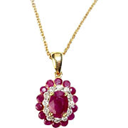 Oval Ruby Diamond Pendant Necklace 14K Yellow Gold with 10 K Chain, Vintage
