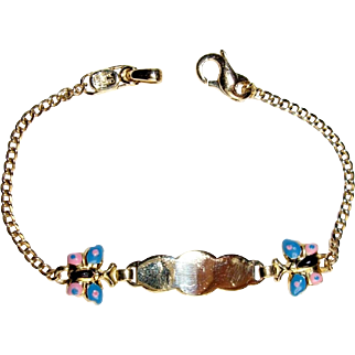 Small Enamel Butterfly ID Bracelet, 14K Yellow Gold for Child or Small Woman, Vintage