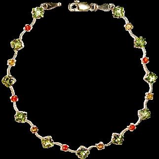Delicate Bracelet, 14K Yellow Gold, Peridot, Orange Garnet, Citrine, Vintage
