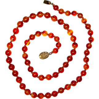 Carnelian Bead Necklace, Chinese Silver Clasp, Vintage, 25""