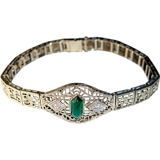 14K White Gold Filigree Bracelet, Diamonds, Synthetic Emerald, Vintage c. 1920's