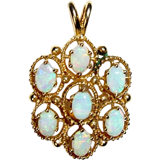 Opal Pendant, 14K Yellow Gold, Vintage, October Birthstone, Holiday Gift